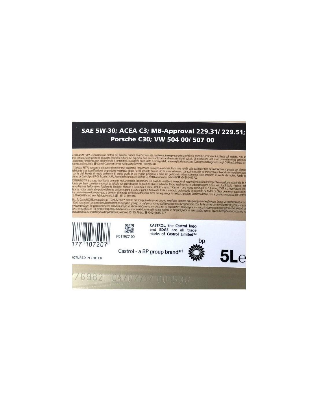 Aceite Castrol Edge LL Titanium FST 5W30 5L- 36,51€- www