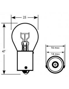 Lámpara 1 Polo 12V 21W PY21W AMBAR BAU15s